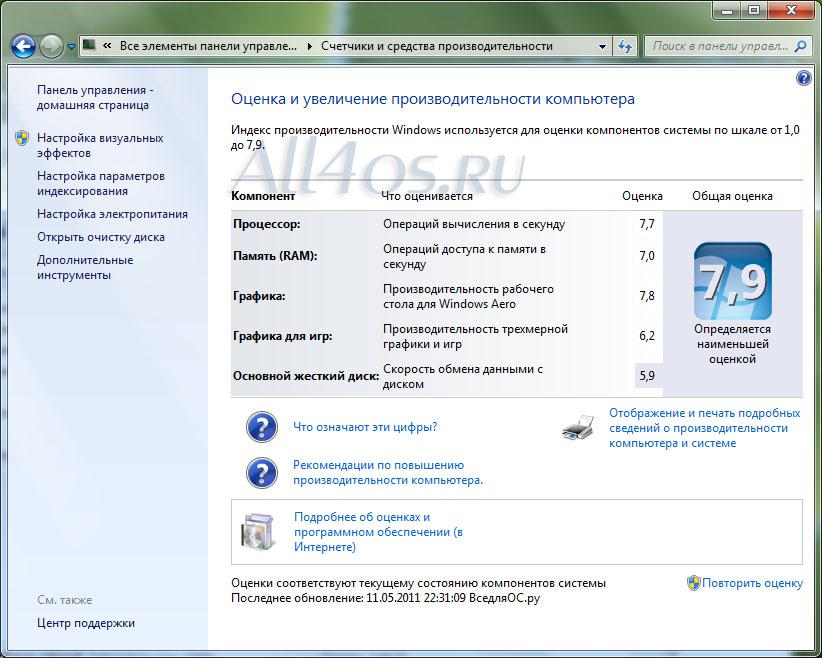 проверка производительности компьютера Windows 7 - фото 10