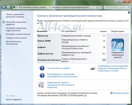 Как изменить индекс производительность Windows 7