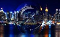 Заставки с часами с видом на ночной город