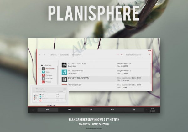 Planisphere - плоская тема для Windows 7