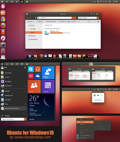 Ubuntu – тема в стиле Linux для Windows 10