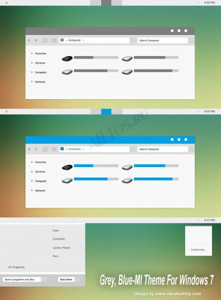 плоская тема Windows 7 в