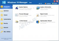 Windows 10 Manager - программа для оптимизации и настройки Windows 10