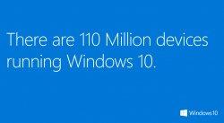 Windows 10 установили на 110 миллионов устройств