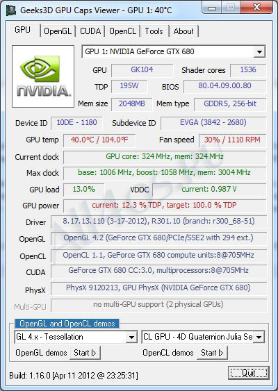 GPU Caps Viewer – программа для тестирования видеокарт