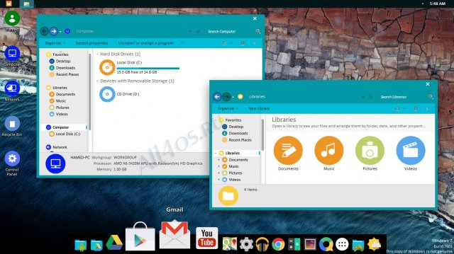 Android M – яркая тема в стиле Android для Windows 7