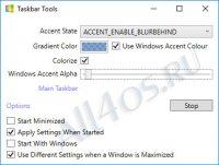 TaskbarTools – программа для изменения уровня прозрачности панели задач Windows 10