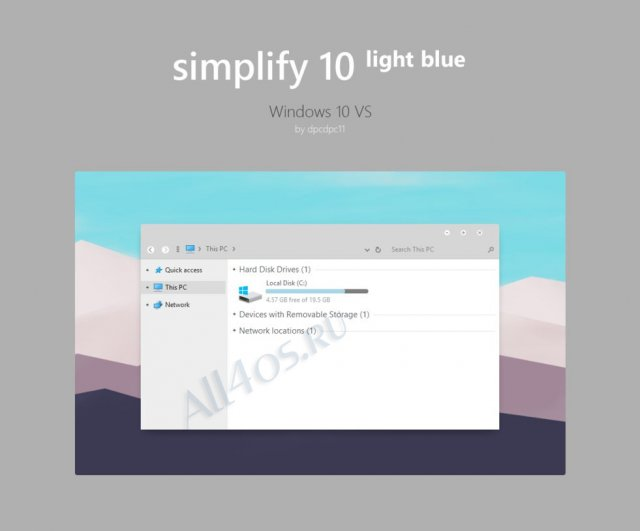Simplify 10 Light Blue – элегантная тема для Windows 10